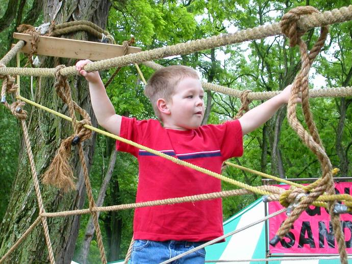 Owen navigating the rope bridge at the Clearwater Festival.